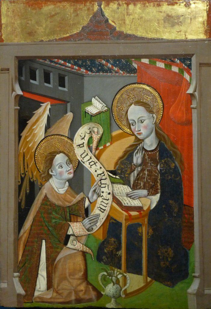 Tabla 2 E 38 - Anunciación a la Virgen. Anónimo de Escuela de Aragón. Huesca, circa 1430