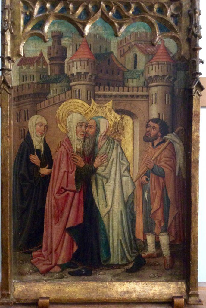3 E 23.- Tabla de Juan de la Abadía (d. 1470-98). Abrazo en la Puerta Dorada. Óleo. 67 x 42 cm. Huesca, 1470-98