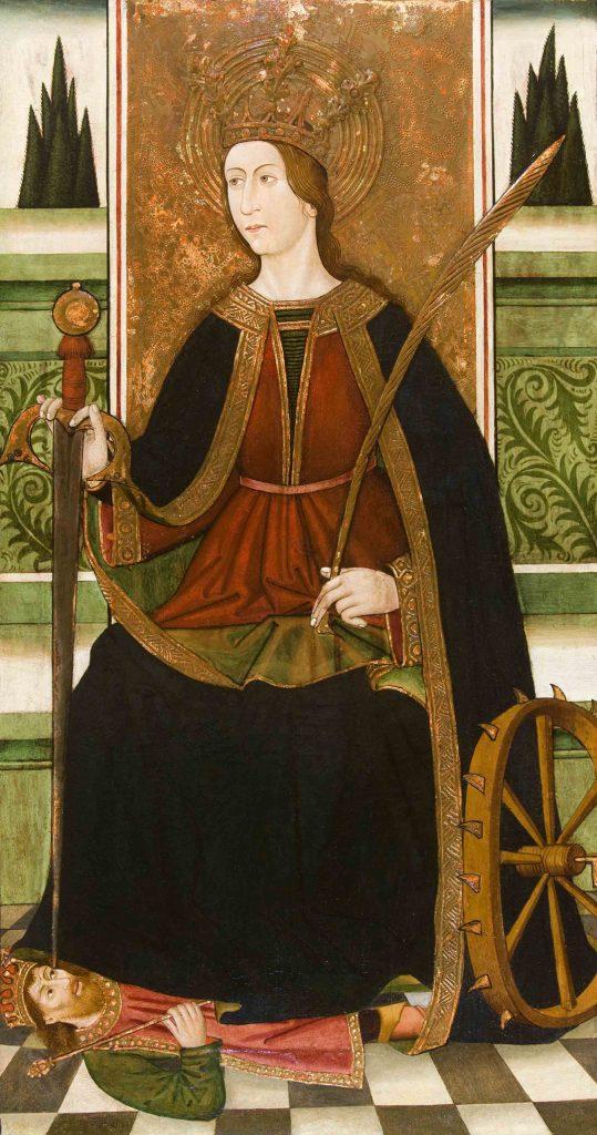3 E 15.- Tabla de Francisco Solíbes (d. 3º 1/3 S. XV). Sta.Catalina. Temple Graso. 109 x 60 cm. Tarragona, c. 1481