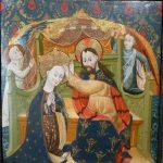 2 E 19.- Tabla Escuela Aragón. Coronación de la Virgen. Tempera y fondos de oro. 61 x 62,5 cm. Huesca, c. 1430