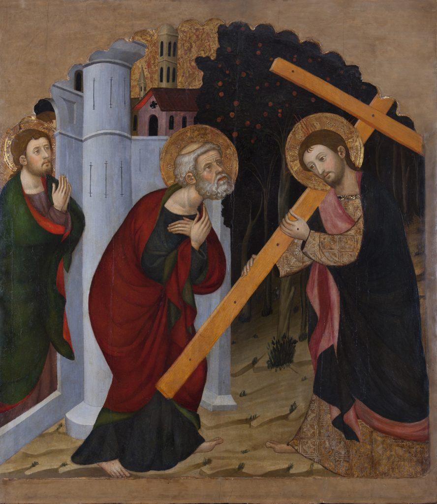 1 E 09.- Tabla de Pere Serra (d.1357-1406). Quo Vadis Domine. Temple. 117.5 x 136 cm. Cubells-Lleida, c. 1390