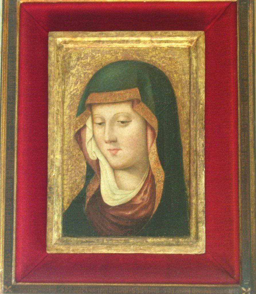 2 E 04.- Tabla Gótica Anónima. Verónica de la Virgen. Temple. 26.5 x 38 cm. Valencia, c. 1420
