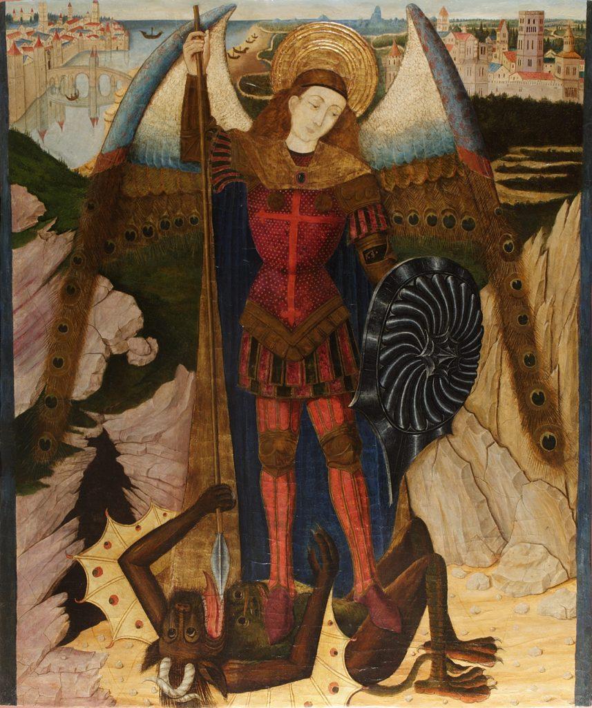 3 E 18.- Tabla de Pedro García Benabarre (d.1445-85). Arcángel San Miguel. Temple. 133,5 x 161 cm. Lleida, 1460