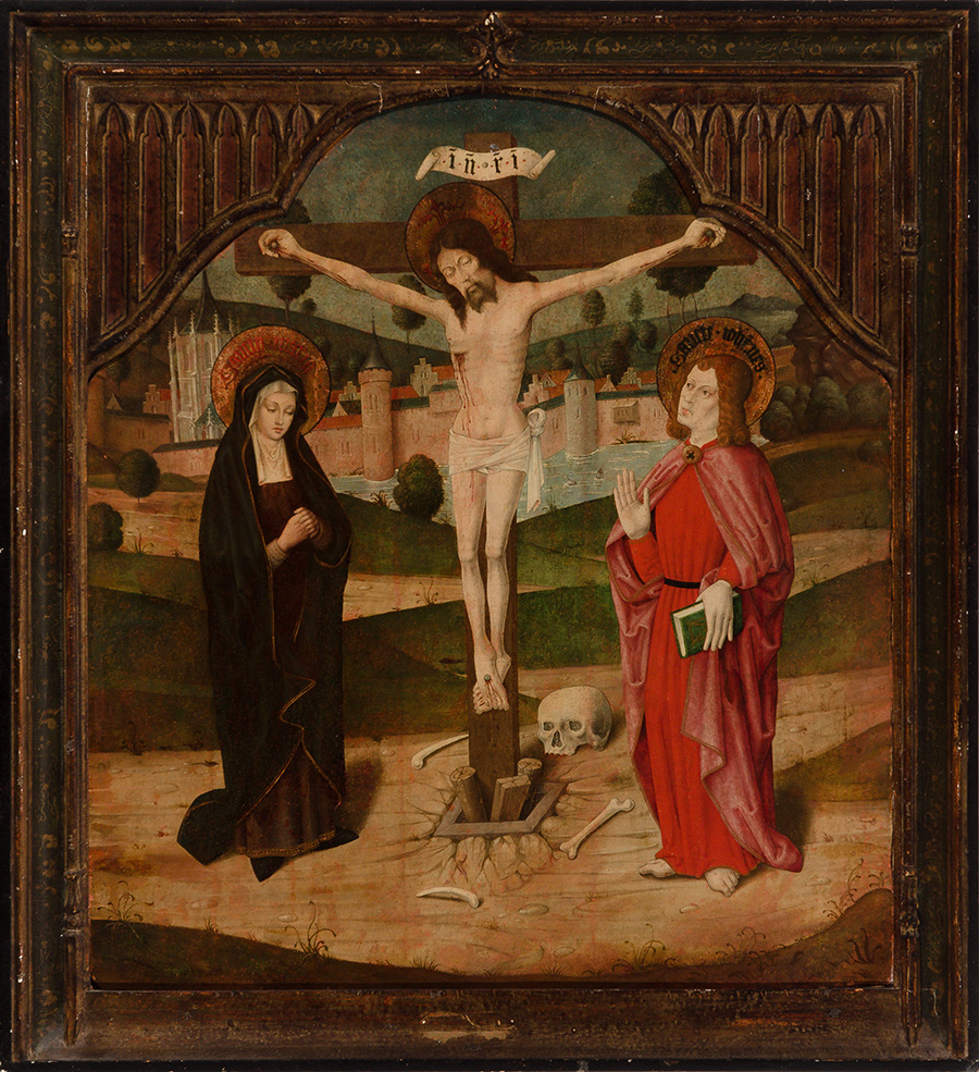 4 E 29.- Tabla Hispanoflamenca. Crucifixión. Óleo. 90 x 80 cm. 1ª ½ s. XVI