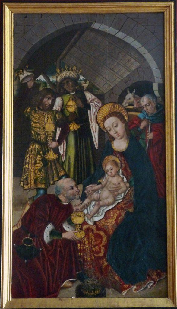 3 E 01.- Tabla de Diego de la Cruz (d.1482-1500). Epifanía. Tempera. 108 x 58 cm. Los Balbases-Burgos, 1498