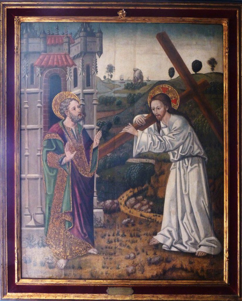 3 E 30.- Tabla de Maestro de Ameyugo (d.1490-1510). Quo Vadis, Domine? Óleo. 132 x 105 cm. Burgos, c.1500