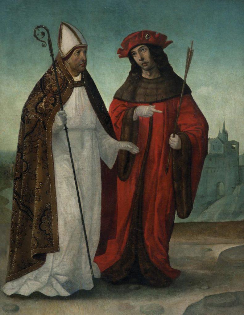 4 E 16.- Tabla de Juan de Tejerina (1515-30). San Fabián y San Sebastián. Óleo. 62 x 81 cm. Paredes de Nava (Palencia), c. 1520
