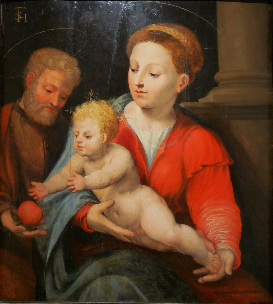 4 E 20.- Tabla de Jerónimo Vicente Vallejo Cósida (1510-92). Virgen con Niño. Óleo. 54,5 X 62 cm. Zaragoza, siglo XVI