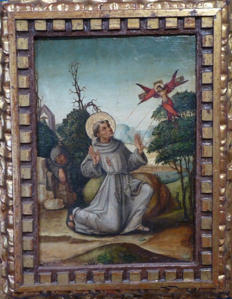 4 E 28.- Tabla de Escuela Castellana. San Francisco recibiendo los Estigmas. Óleo. 24 x 36 cm. Castilla, 1ª ½ s. XVI