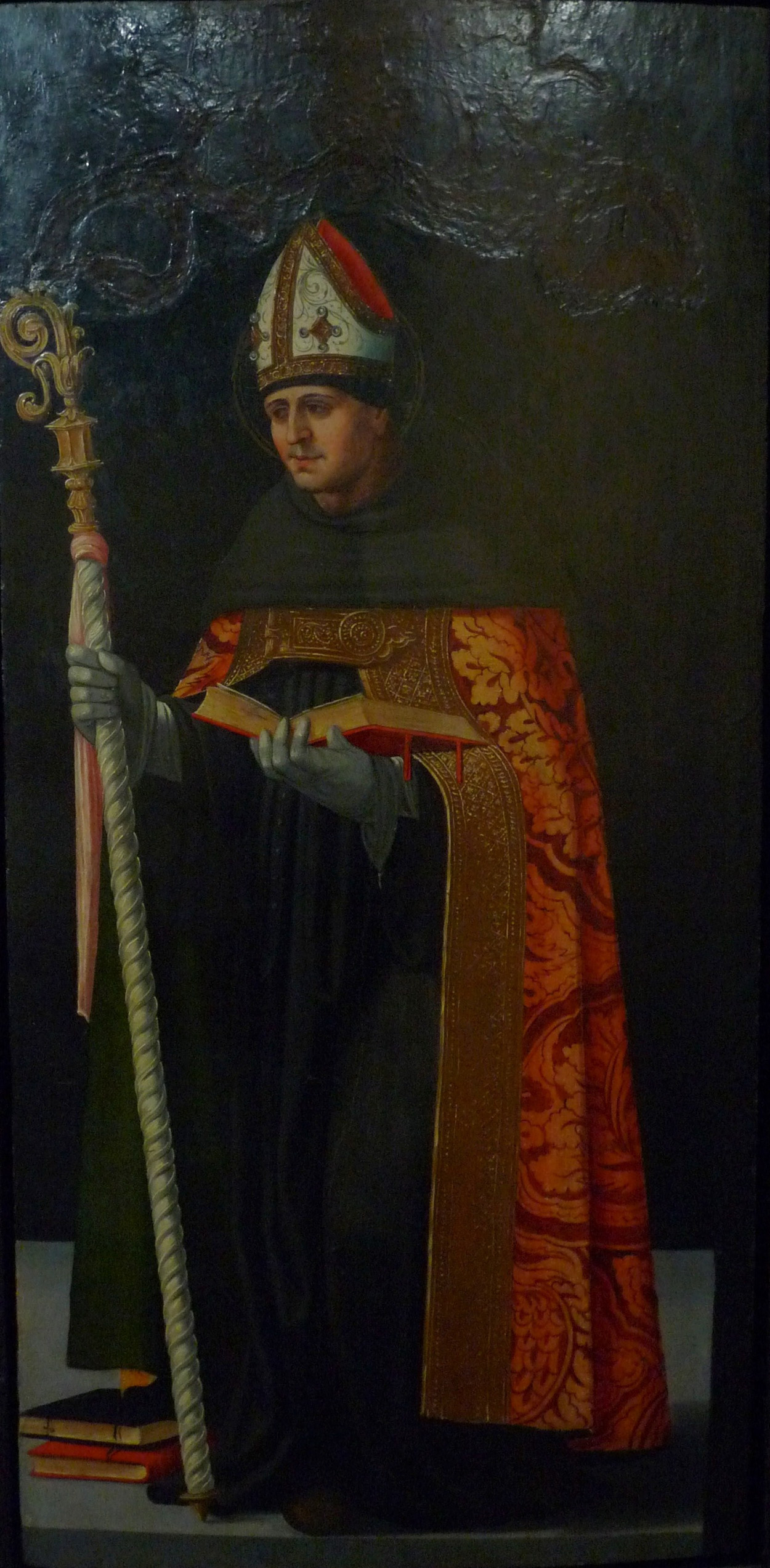 4 E 31.- Tabla de Vicente Macip (Andilla, 1475 – Valencia, 1545). San Agustín. Óleo. 80 x 38,3 cm. Valencia, 1º 1/3 siglo XVI