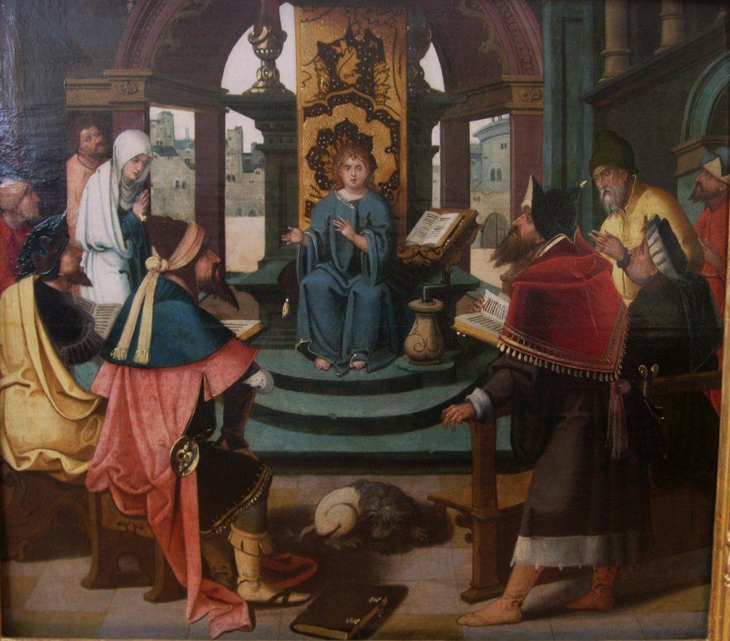4 F 07.- Tabla de Jan Martens van Dornicke o Maestro de 1.518 (d.1510-30). Jesús entre los Doctores. Óleo. 65 x 59 cm. Amberes, 1º ¼ s. XVI