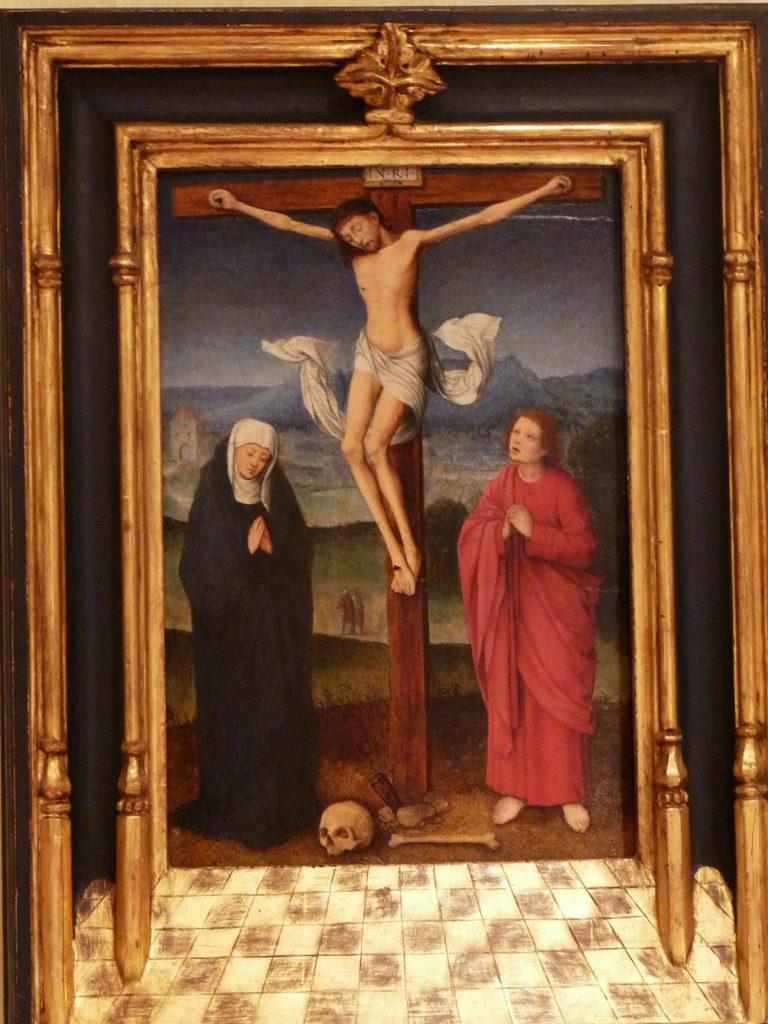 4 F 13.- Tabla del Circulo de Marcellus Coffermans (1549-75). Crucifixión. Óleo. 26 x 39 cm. Amberes, 3º ¼ S. XVI