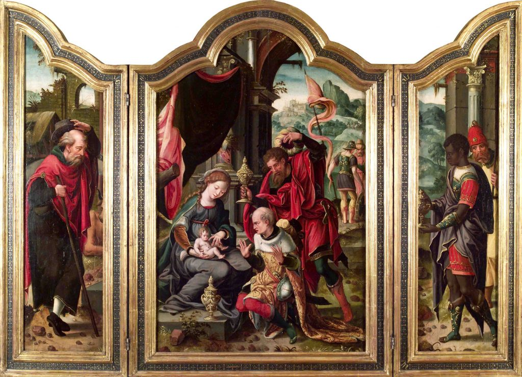 4 F 14.- Tríptico del Mtro. de Sta. Anna Hofje. Epifanía. Óleo. Central 49 x 75 cm. Laterales 19 x 74 cm. Amberes, 1ª ½ s. XVI