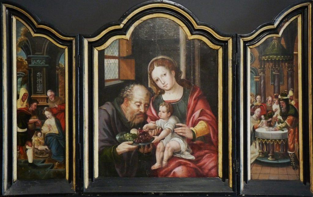 4 F 32.- Tríptico del Mtro. de los Modelos de Pieter Coecke. Sagrada Familia / Adoración de los Pastores / Circuncisión de Jesús. Óleo.