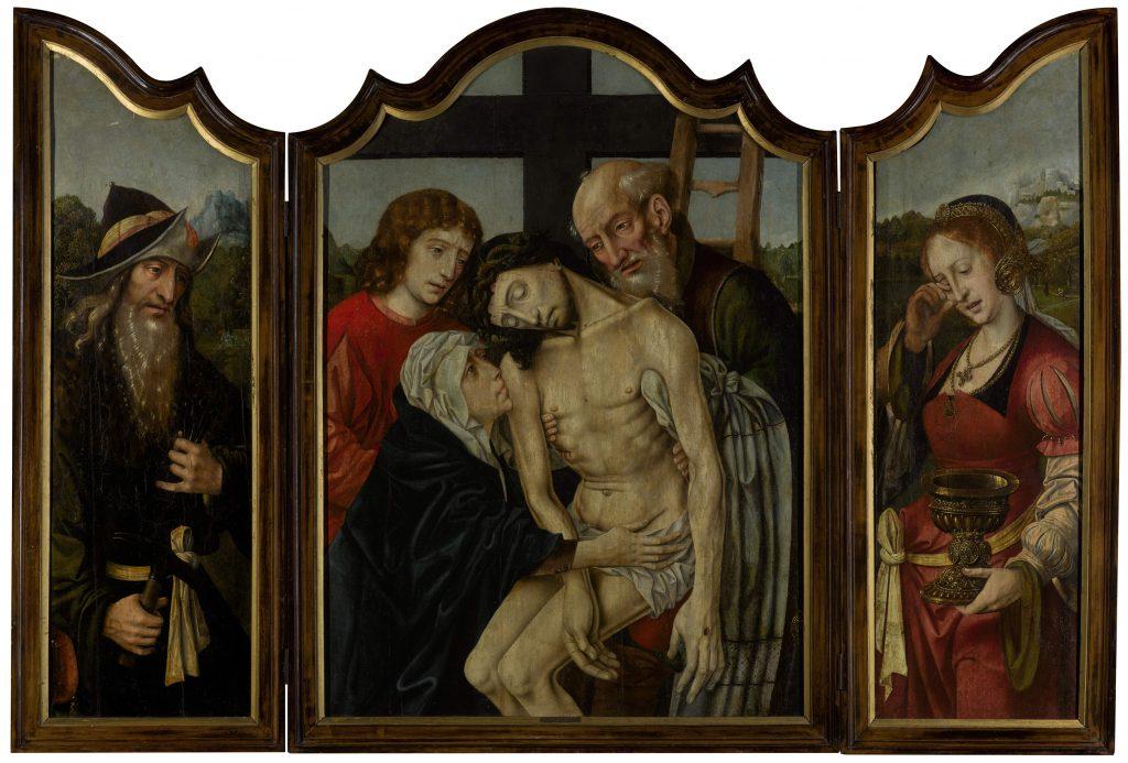 4 F 36-34 - Mtro. Santa Sangre. Tríptico de la Lamentación (tabla central), José de Arimatea y María Magdalena (tablas laterales).