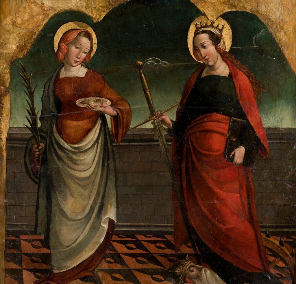 4 E 43.- Tabla Mtro. Benito (d. 1522-1533). Sta. Lucía y Sta. Catalina. Óleo. 66 x 70 cm. Palencia, circa 1530.